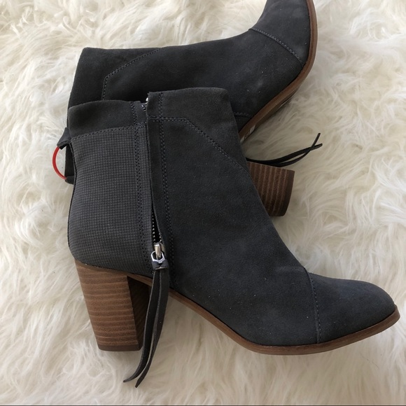 d6a63294c47 TOMS zip up chunky heel booties gray 7.5 boots